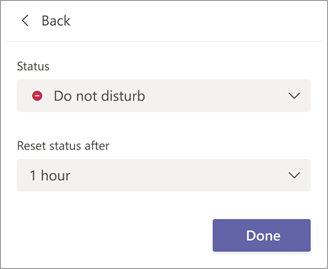 Set status and duration