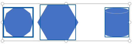 Selecting three shapes to distribute.