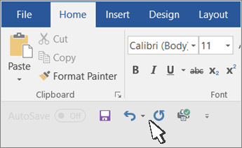 Quick Access Toolbar shown below the ribbon