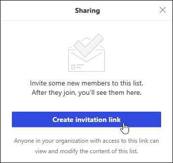Create invitation link