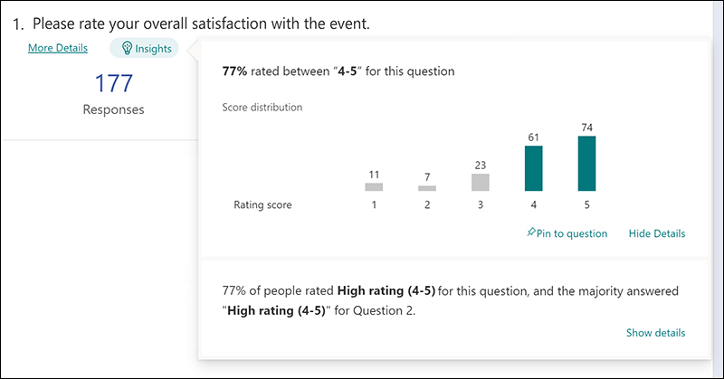 Insights button on Responses tab of Microsoft Forms