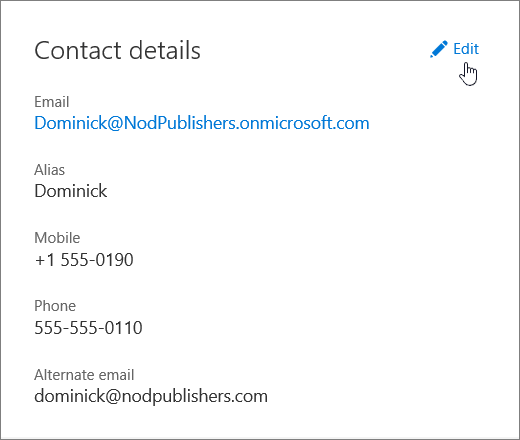 The Contact details pane with a hand icon pointing to the Edit link.
