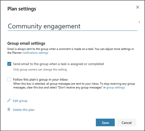"Screen capture: Showing the setting ""Send email to the plan's group..."" for the plan settings"
