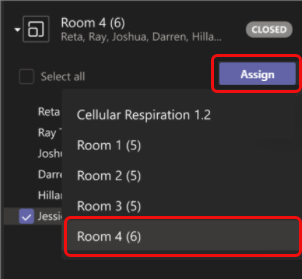 Select room to move participant