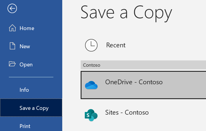 Screenshot of Word Save a copy option