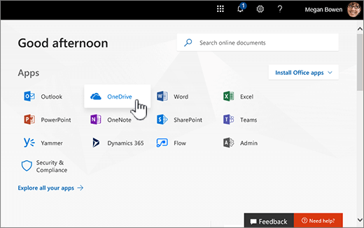 Office 365 home screen with OneDrive select