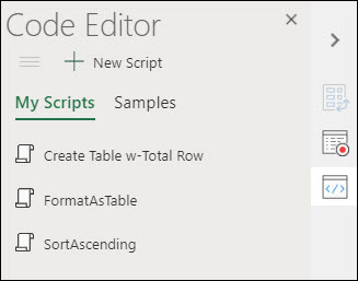 Image of the Office Scripts Code Editor, which displays any Office Scripts you have saved.