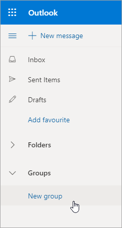 New Group location in Outlook.com folder list
