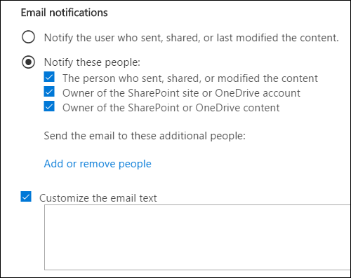 Email notification options