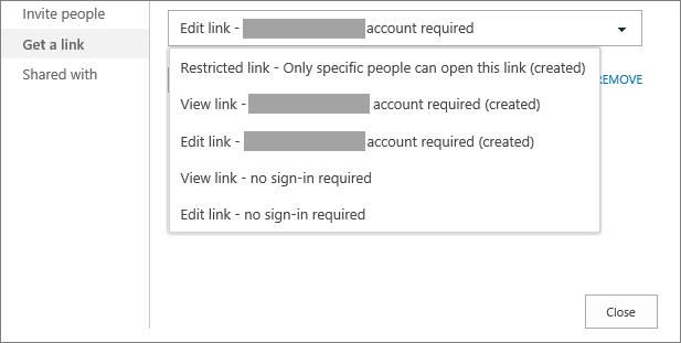 Get a link dialog box