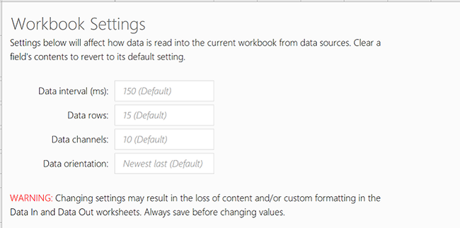 Show the Workbook Settings tab for Data Streamer