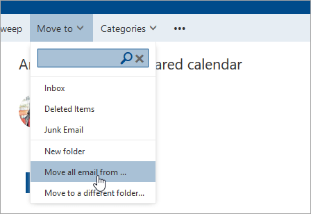 A screenshot of the Move all email from option