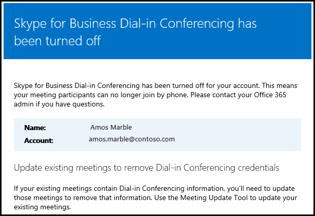 Dial-in conferencing is turned off.