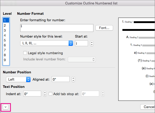 The down arrow is highlighted in the Customize Outline dialog box.