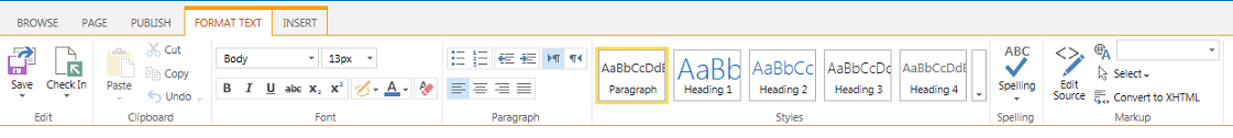 Screen shot of the Format Text tab, which contains numerous buttons for formatting text