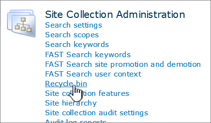 SharePoint 2010 Site Collection admin section with Recycle highlighted