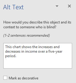Word Win32 Alt Text pane for charts