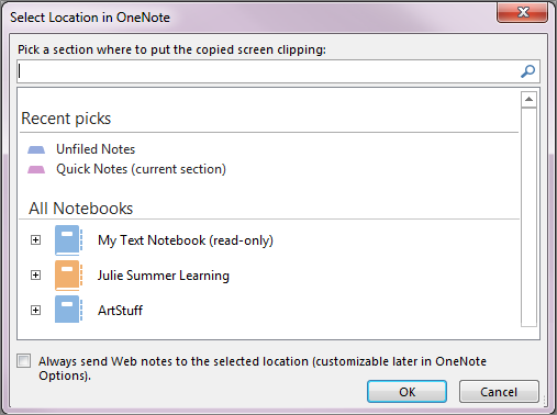 The Select Location in OneNote dialog box
