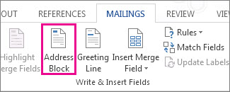 Insert Address Block merge field