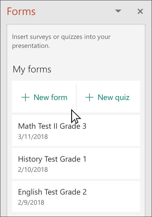 Insert a form or quiz into PowerPoint - PowerPoint