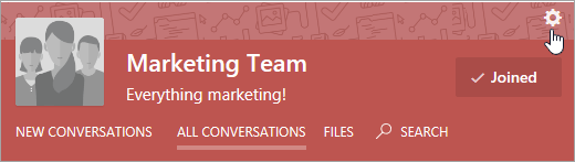 Yammer group header including Settings icono
