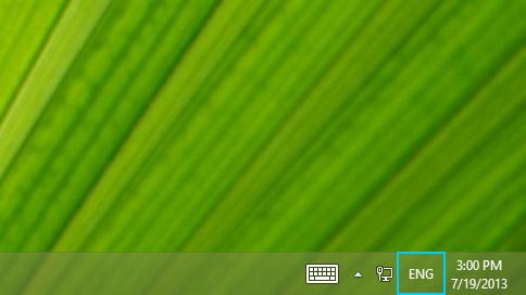 Language abbreviation button on taskbar