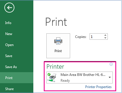 In the Printer drop-down menu, identify the printer you want to use.