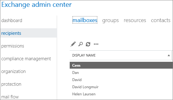 Find mailboxes in Exchange Admin Center to fix DSN 5.7.134
