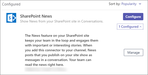 News connector dialog box