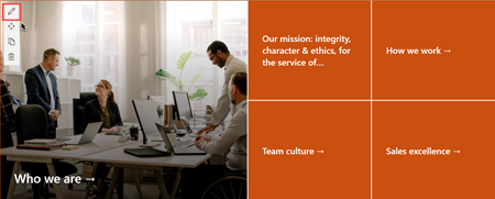 Image of the hero web part on the New employee onboarding site