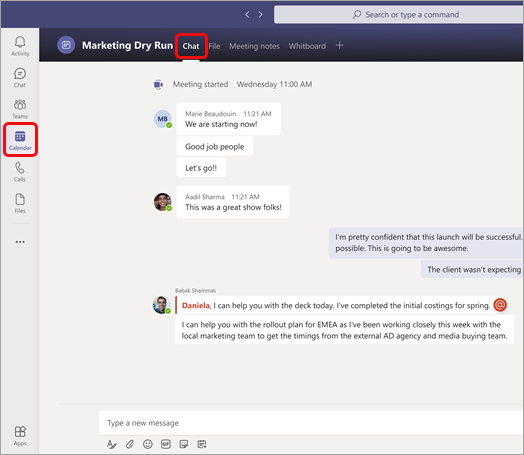 Chat is the first tab on top of screen