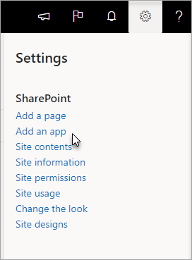 The settings menu with Add an app highlighted