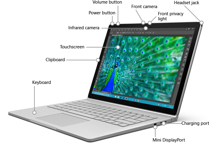 Features on the front of Surface Book