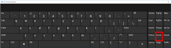 Windows 10 on-screen keyboard with Scroll Lock