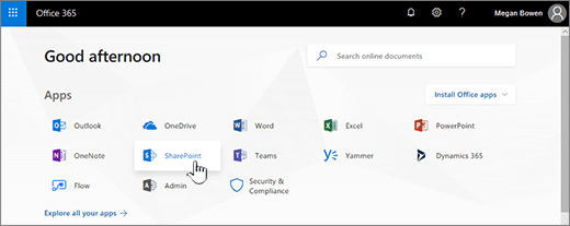 Office 365 start page with SharePoint selected