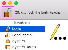 Click the large padlock icon to lock the keychain