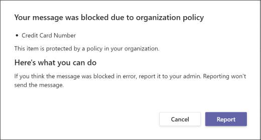 Dialog explaining why a message was blocked and can't be overridden