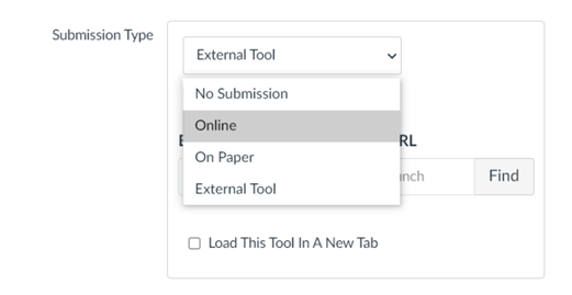 Submission type dropdown with Online highlighted