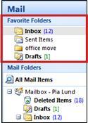 favorite folders pane