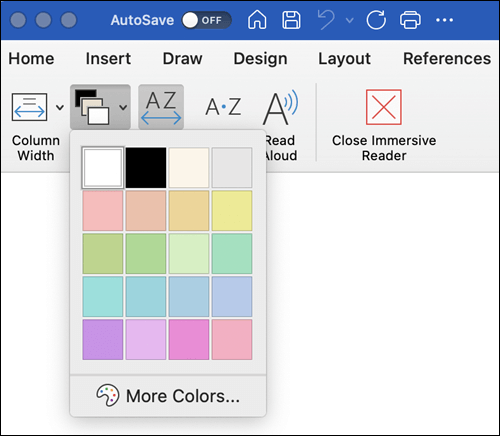 Page Color Options shown for Immersive Reader in Word for the Mac