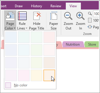 Change the background color of a page in OneNote 2016 for Windows ...