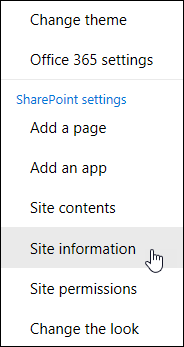SharePoint site information link