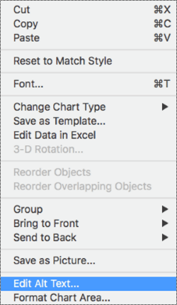 Context menu for charts with Alt text option selected.