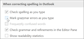 Clear the Mark grammar errors as you type check box