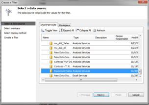 Select a data source dialog box