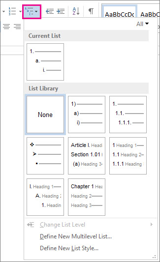 Create An Outline From Scratch  Word Word  Multilevel List Styles