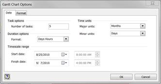 The Gantt Chart Options dialog box