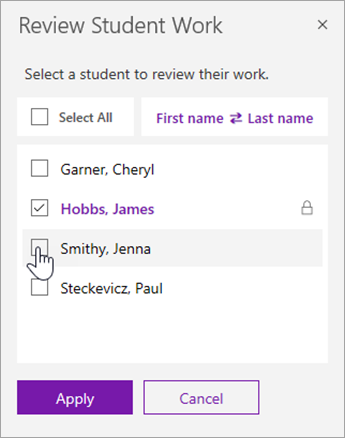 Select the checkbox to lock an individual student page.
