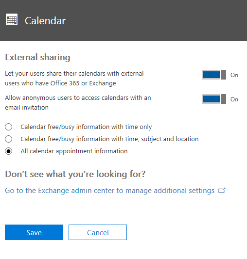 In the Calendar page, configure the settings as appropriate for your situation.