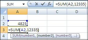 Using the SUM function to add a cell and a value